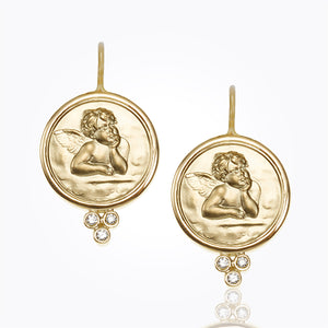 Temple St. Clair 18k Gold Angel Earrings with Diamonds 10mm