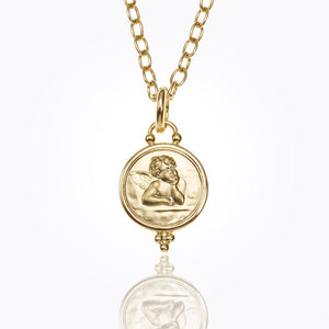 Temple St. Clair Angel Pendant Bezel Granulation 14mm in 18K Gold
