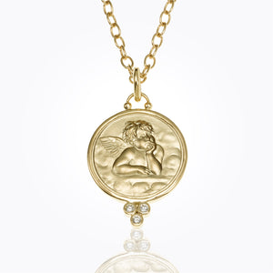 Temple St. Clair Angel Pendant with Diamonds 21mm in 18K Gold