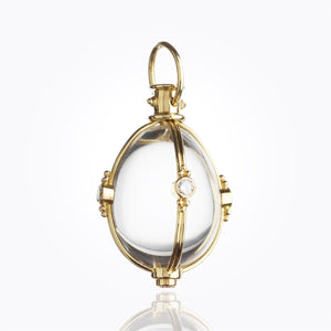 18K Classic Amulet with Oval Rock Crystal and Diamond - 34x27mm