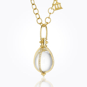 18K Classic Amulet with Oval Rock Crystal and Diamond Pavé - 24x18mm