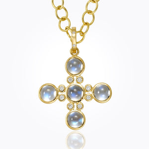 Temple St. Clair 18k Classic Five-Stone Cross with Royal Blue Moonstone and Diamond