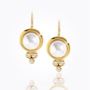 Temple St. Clair 18k Classic Pearl Earrings With Diamond