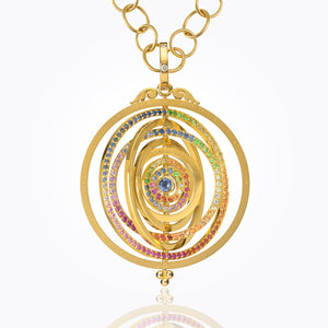 18K Eight Ring Tolomeo Pendant with Mixed Colored Sapphire and Diamond