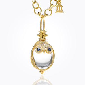 Temple St. Clair 18K Owl Amulet with Blue Sapphire and Diamond Pave - 24X18mm