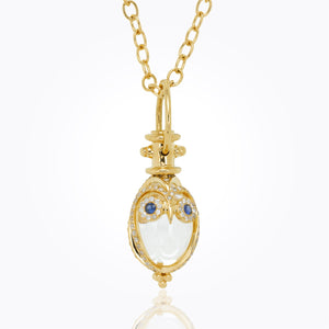 Temple St. Clair 18K Owl Amulet with Blue Sapphire and Diamond Pave 16x11mm
