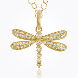 18k Pave Dragonfly Pendant With Diamond