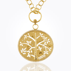 18K Pavé Tree of Life Pendant with Diamond