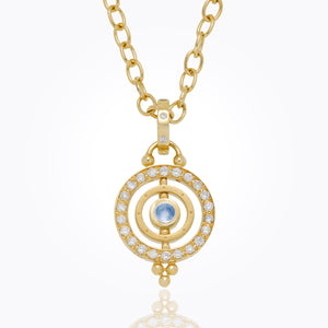 18k Mini Tolomeo Pendant with Royal Blue Moonstone and Diamond