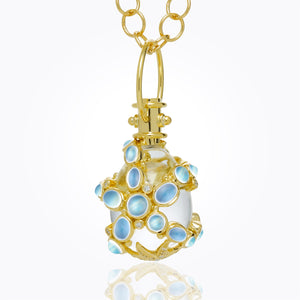 18K Sea Star Amulet with Oval Rock Crystal, Royal Blue Moonstone, Blue Sapphire and Diamond 34x27mm