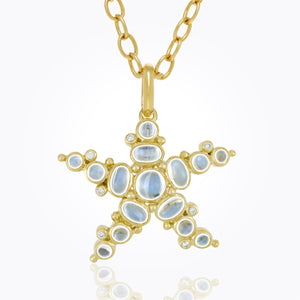 18K Sea Star Pendant with Royal Blue Moonstone and Diamonds