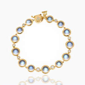 Temple St. Clair 18K Single Round Bracelet with Royal Blue Moonstone and Diamond
