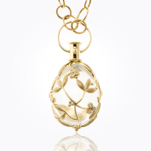 18K Vine Amulet with Oval Rock Crystal and Diamond - 34x27mm