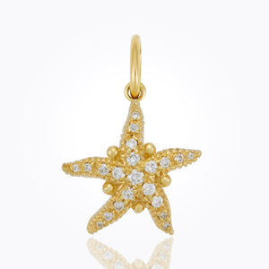 18k Pave Sea Star Pendant With Diamonds