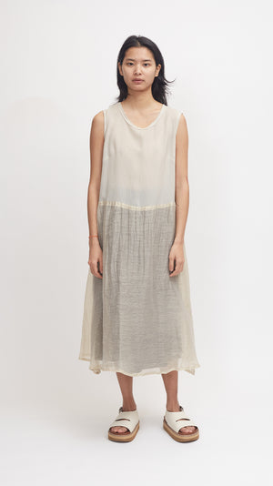 Pas de Calais Cupro and Ramie Dress in Beige
