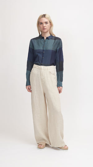 Pas de Calais Classic Relaxed Fit Linen Pant in Ivory
