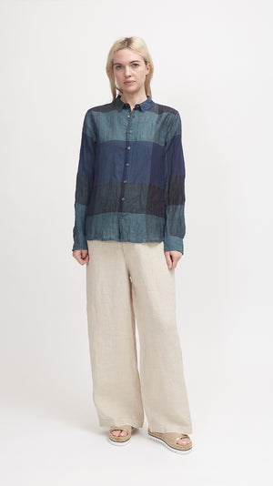 Pas de Calais Bamboo and Cotton Check Blouse in Green