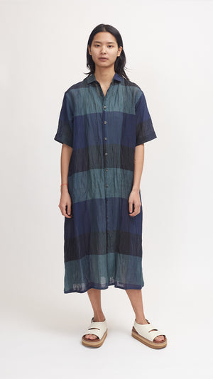 Pas de Calais Bamboo and Cotton Check Dress in Green