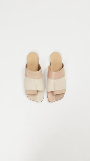 MM6 by Maison Margiela Patchwork Slip-on Sandals in Beige