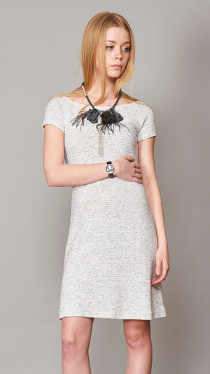 Tweed Dress With Short Sleeves - Gray