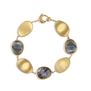 Lunaria Collection Black Mother of Pearl Bracelet in 18K Yellow Gold