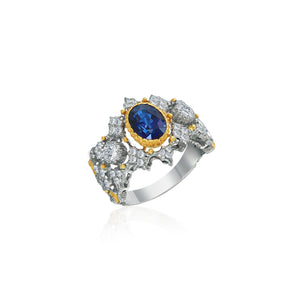 18k White Gold Ring 2.56ct Oval Shape Sapphire and .71ct Diamonds