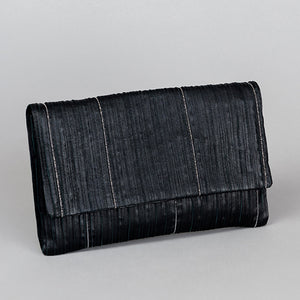 Leather Clutch with Beading - Black