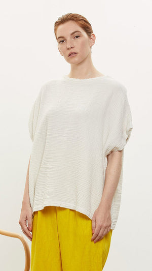 Black Crane Double Gauze Top in Cream