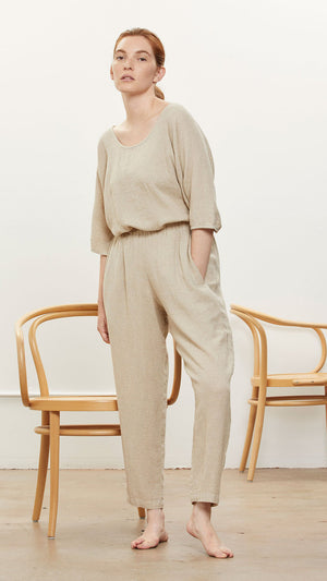 Black Crane Easy Pants in Natural