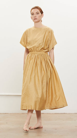 Black Crane Pleated Dress in Tan