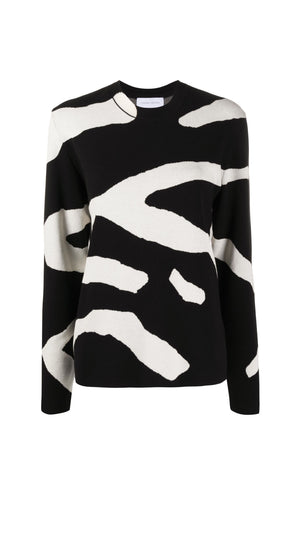 Christian Wijnants Kisha Sweater in White Zebra Stripes