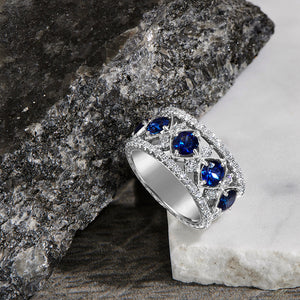 Wedding Band with Sapphires and Diamonds in Platinum