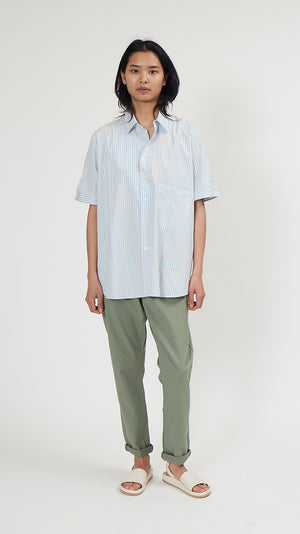 Hope Elma Short Sleeve Top in Light Blue Stripe