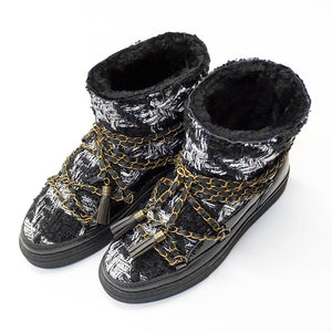English Tartan Sneakers With Chain Laces - Black