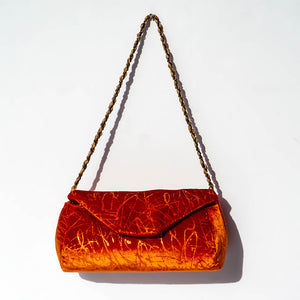 Maria La Rosa Albatros Velvet Writings Purse - Orange