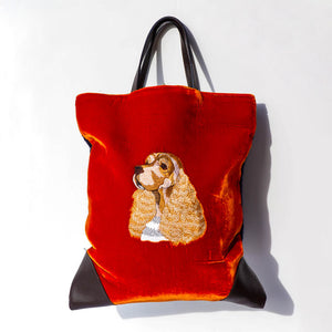 Maria La Rosa Embroidered Cocker Spaniel Tote - Rust
