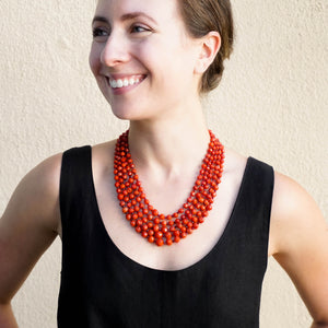 Eva Nueva Multi-Strand Coral Necklace With Red Jade