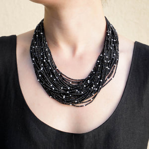 Eva Nueva Multi-Strand Necklace With Black Spinnal and Pearls