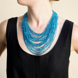 Eva Nueva Blue Topaz and Turquoise Beaded Necklace