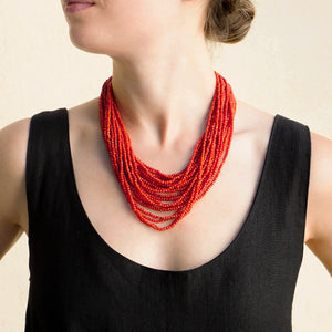 Eva Nueva Multi-Strand Coral Necklace