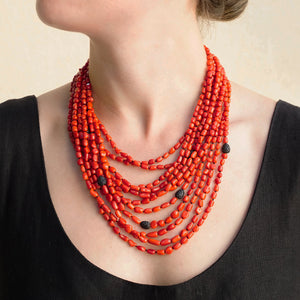 Eva Nueva Multi-Strand Coral Necklace With Black Spinnal Bakelite