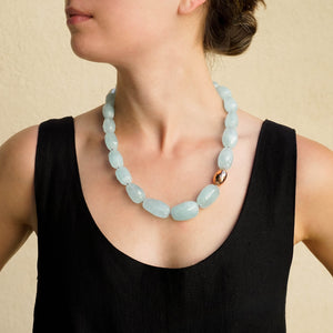 Eva Nueva Aquamarine Beaded Necklace in Rose Gold