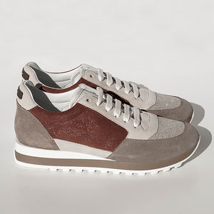Peserico Sneakers - Color Block Taupe/Tan/Brown