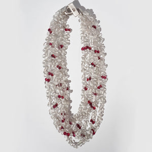 Eva Nueva Multi Strand Necklace With Grey Quartz and Rubies