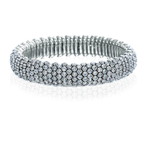 Signature 18K White Gold Stretch Bracelet With Diamonds