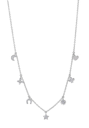 Signature Collection Diamond Charm Necklace in 18k White Gold