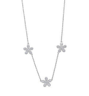 Signature Collection Flower Diamond Necklace in 18k White Gold