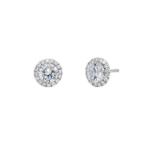 Signature Collection Diamond Micro Pave Earrings with CZ Center Stone in 18k White Gold