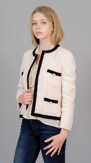 Edward Achour Paris Blazer with Black Trim - Nude