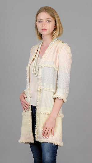 Mid Length Coat with Pearls - Mixed Pastel - On Sale